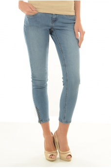 EVE LW SS ANKLE ZIP JEANS LT BL NOOS