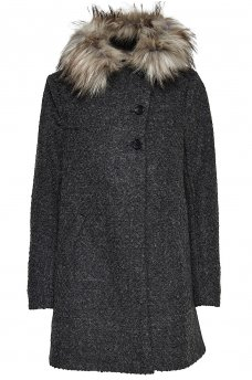 SALLY FUR WOOL COAT